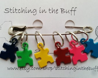 puzzle piece stitch markers on 10mm rings