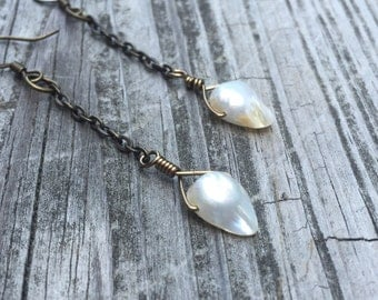 Blister Pearl and Brass Chain Dangle Earrings
