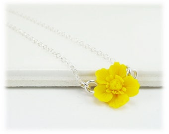 Tiny Yellow Buttercup Necklace - Buttercup Jewelry