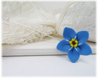 Blue Forget Me Not Brooch or Stick Pin - Forget Me Not Jewelry