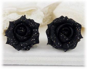 Black Rose Glitter Earrings Stud or Clip On - Glitter Jewelry