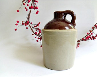 Vintage Stoneware Whiskey Jug, Small Brown and Beige Moonshine Jug, Marked USA