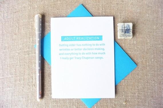 Letterpress Greeting Card - Humor Card - Birthday Card - Mel+Mari - Tracy Chapman Songs - MAM-490