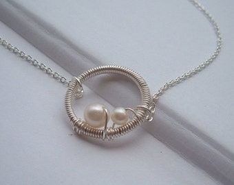 THREE DAY SALE Wire Wrapped Circle Necklace-Mommy and Me-  mother and baby pearl- Sterling Silver chain Mom to Be