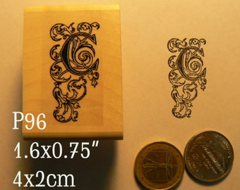 P96 Letter C monogram rubber stamp