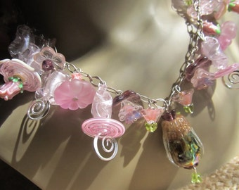 Pink Rose And Lavender Handmade By Susan Every OOAK Lampwork Beaded Necklace, Ships Worldwide