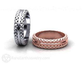 Woven Wedding Ring 6mm Wedding Band Mens or Womens 14K White Yellow or Rose Gold