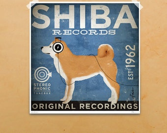 Shiba Inu Records graphic illustration giclee archival signed artist's print by stephen fowler