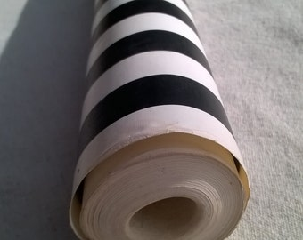 Vintage Wallpaper Wall Paper in Mod Black and White Stripe , one roll vintage striped wall paper