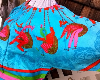 Rare 60s Blouse , Mod Madcap Fun, Super bright Carnival Print, Cute Novelty Print blouse, 60s blouse , sz 36 38