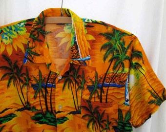 Vintage 70s Hawaiian Shirt Rayon print Palm Trees Tiki shirt Sailboat sunset bright gold print  XS S tourist costume