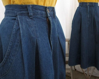 Cherokee Denim Skirt vintage 80s Pleated cotton denim skirt  Pleated with Pockets  M