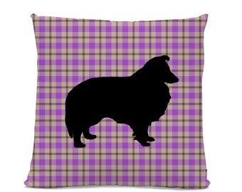 Sheltie Pillow - Plaid Sheltie Silhouette Pillow - Purple Plaid Pillow - dog home decor - Sheltie Decor - Dog Pillow