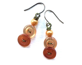 Button Earrings Peachy Pearl Peach Vintage Button Earrings with Orange and Chartreuse