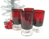 Luminarc 9 Oz Red Stemmed Wine Glasses, Set of 4 (2 Sets Available), Vintage 1970, Christmas Entertaining, Dinner Table, Bar Ware, 5 Inches