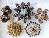 5 Jeweled Magnets. Victorian Fancy Neodymium-CHAMPAGNE