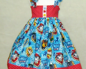 Summer Girl Dress  Made with Paw Patrol Fabric,  Party Dress , Girls Dresses,  Girl Sun Dress, Red and Blue Girl Dress, Party Dress