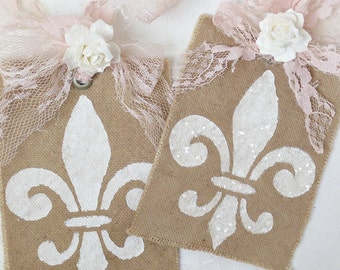 French Gift Tags, Paris Gift Tags, Shabby Chic Gift Tags, Rustic Gift Tags, Fleur de Lis Tags, Favor Gift Tags, Blush Pink and Brown Tags