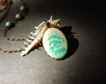 Nautical vintage mint green ship cameo necklace with asymmetric beads.