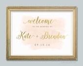 Blush and Gold Wedding Decor, Wedding Welcome Sign, Watercolor Wedding, Gold Foil, Printable Wedding Sign, Art Deco, Romantic - PRINTABLE
