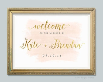 Blush and Gold Wedding Decor, Wedding Welcome Sign, Watercolor Wedding, Gold Foil, Printable Wedding Sign, Art Deco, Romantic - PRINTABLE