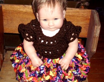 Crochet baby dress 0-3 months spring summer time Brown handmade doll