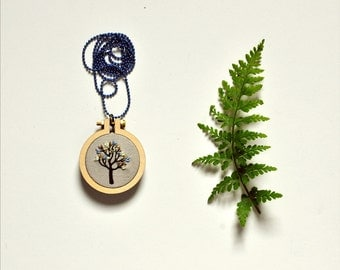 hand embroidery necklace - Little Tree