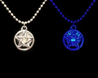 Blue Glow in the Dark Pentagram Pendant Cage Necklace