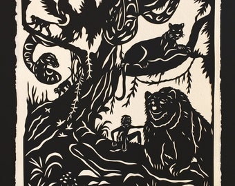 Sale 20% Off // Jungle Book Papercut - Hand-Cut Silhouette// Coupon Code SALE20