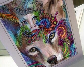 greeting card print of original art-coyote Zentangle