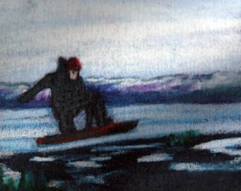 original art drawing aceo card snowboarder landscape
