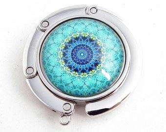 Purse Hook - Aqua Mandala Photo Glass Cabochon, Purse Hanger