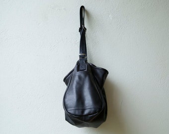 sale Bucket -  slouchy leather cross body bag - soft black leather shoulder bag - bouncy and light