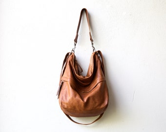leather backpack purse HOBO PACK in soft lightweight saddle leather - crossbody bag - with outside zip pocket - select size