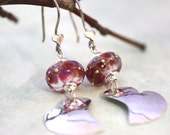 Soft Heart in Sterling Silver Dangle Earrings with Handmade Lamp Work Glass Designer Statement Earrings