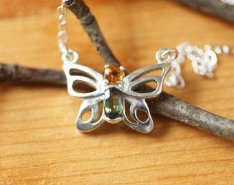 Tiny Butterfly Gemstone Silver Necklace,  Sterling Silver Birthstone Butterfly Necklace, Customized Silver Butterfly Gemstone Necklace