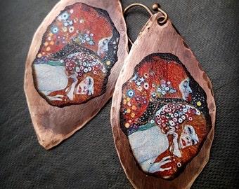 Gustav Klimt, Water Serpents ll, Copper Earrings, Artisan Made, Art Nouveau, Modern, Beaded Earrings