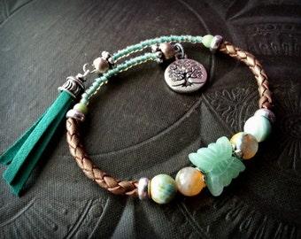 Bangle Bracelet, Leather Bracelet, Gemstone Bracelet, Gypsy, Bohemian, Tassel , Memory Wire, Wrap Charm Bracelet