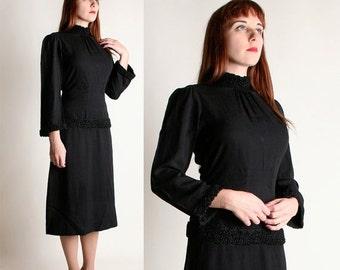 ON SALE Vintage 1930s Dress - Black Crepe Braided Gothic Dress - Medium