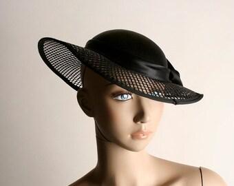 ON SALE Vintage Satin Net Hat - 1950s Sunday Derby See Through Brim Rose Hat