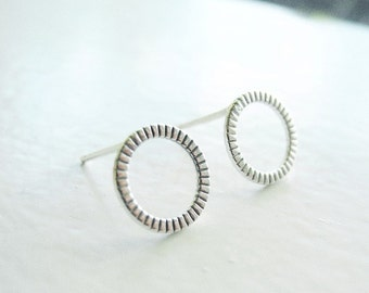 Hoop Stud Earrings, Round Stud Earrings, Sterling Silver Circle Earrings, Hammered Hoop Earrings, Silver Hypoallergenic Studs (E264)