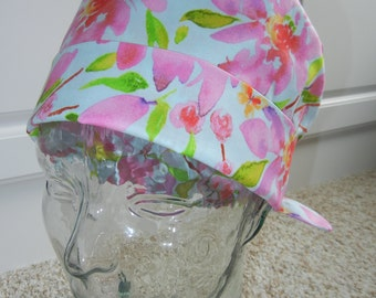 Tie Back Surgical Scrub Hat with Watercolor Wildflower