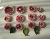 Crochet Applique Flowers,12 flowers,12 leaves
