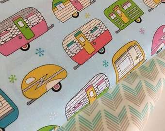 Vintage Camper fabric, Metallic fabric, Silver fabric, On the Road Blue fabric bundle by Robert Kaufman, Fabric Bundle of 2, Choose The Cuts