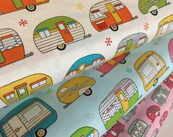 Vintage Camper fabric, Metallic fabric, Silver fabric, On the Road fabric bundle, Robert Kaufman, Fabric Bundle of 3, Choose The Cuts