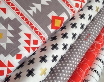 Tribal fabric, Aztec fabric, Boho fabric, Gold fabric, Four Corners fabric bundle of 5 by Riley Blake, Deer fabric, Fat Quarter to Yards