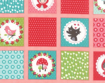 Red Riding Hood Fabric, Little Red fabric, Stacy Iest Hsu, Novelty fabric, Kids fabric, Heart fabric, Patchwork in Pink, Choose the Cut