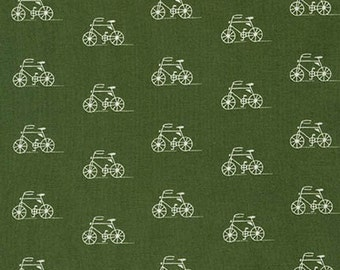 SALE fabric, Scarf fabric, Lightweight fabric, Hipster fabric, LAWN fabric by Robert Kaufman- Bike fabric, Bicycle in Green- Choose your cut