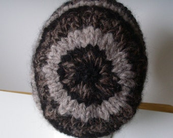 Handmade  EarthTone BEANIE HAT2  100% ALPACA men women kids Beanie Hat --Warm Winter Handspun, hand knit-- Shades of brown beige BLACK