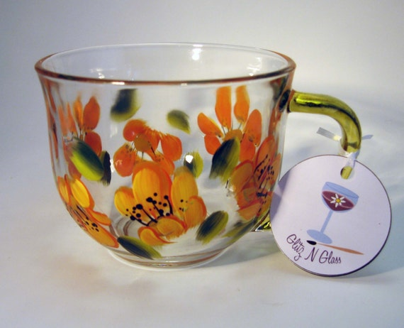 Hand Painted Yellow Lily Glass Tea Cup